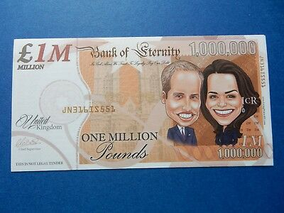 One Million Note PRINCE WILLIAM and KATE 1,000,000 Royalty ENGLAND BRITAIN UK