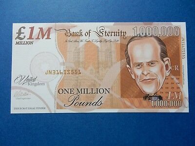 One Million Note PRINCE PHILIP Queen of England's Husband 1000000 Royalty UK WOW