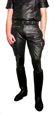 black leather pants motocycle pants BREECHES NEW leather trousers black