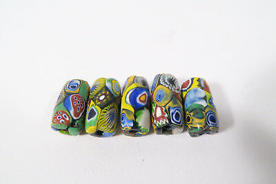 5 alte Millefiori Glasperlen AC25 Old Venetian African trade beads Murrine
