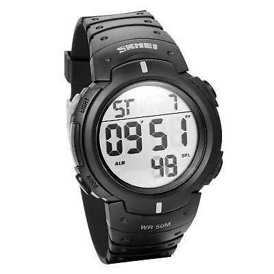 JewelryWe Mens Boys Waterproof Digital LCD Screen Black Rubber Band Sport Wrist