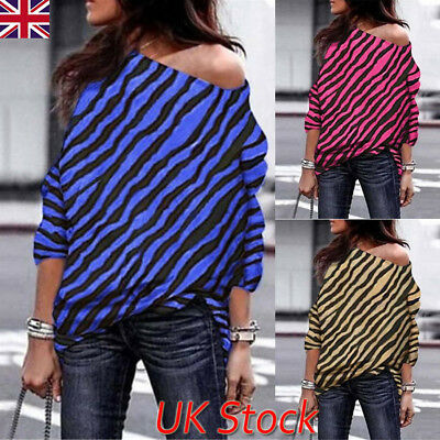 UK Womens One Shoulder Striped Long Sleeve Blouse Tops Ladies Autumn Loose Shirt