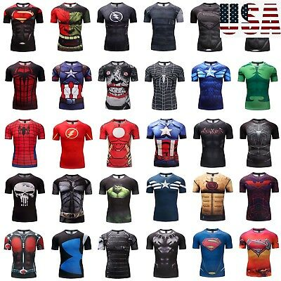 Men's Compression T-Shirt Superhero Avengers Marvel Muscle GYM Fitness Tops