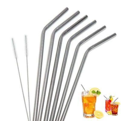 5X(6pcs Long Stainless Steel Drinking Straws with 2pcs Brushes Fit for 20 O G5D7