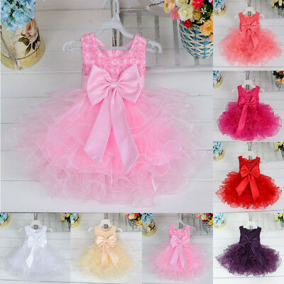 Kids Baby Flower Girl Bow Tulle Tutu Dress Princess Party Wedding Clothes New