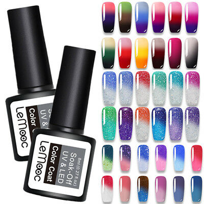 LEMOOC 8ml Nail UV Gel Polish Color Changing Thermal Nail Art UV Gel Varnish