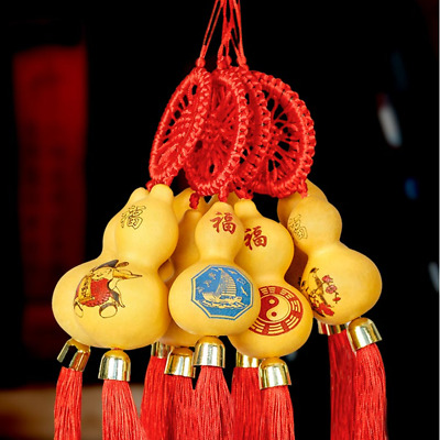 1X Natural Gourd Tassel Pendants Small Calabash Home Car Feng Shui Hanging Decor