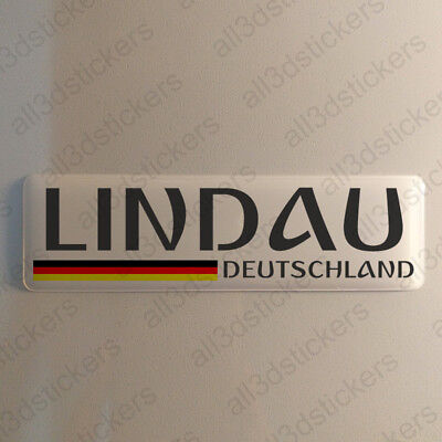 """Lindau Germany Sticker 4.70x1.18"""" Domed Resin 3D Flag Stickers Decal Vinyl"""