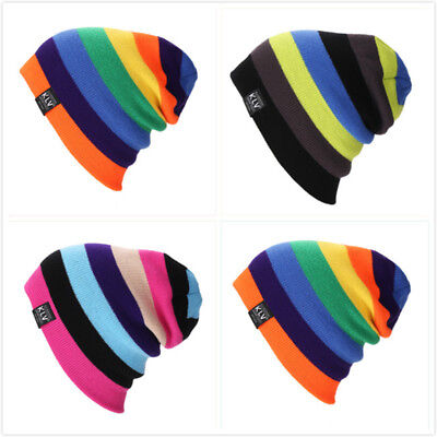 Women Men Knitted Baggy Beanie Hat Winter Warm Striped Multi-color Ski Cap 6A