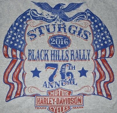Discounted Harley-Davidson Men's T-Shirt, STURGIS 2016 Black Hills Rally Gray HD