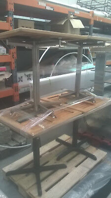 Cafe Tables x 6 - Wooden Tops, Stainless Stands - USED Colchester