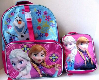 """NWT Disney Frozen Elsa Anna Olaf 17"""" School Backpack with Name Tag & Lunch Bag"""