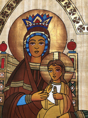 **Rare** Christian Hand Painted Authentic Egyptian Papyrus (Virgin Mary - Jesus)