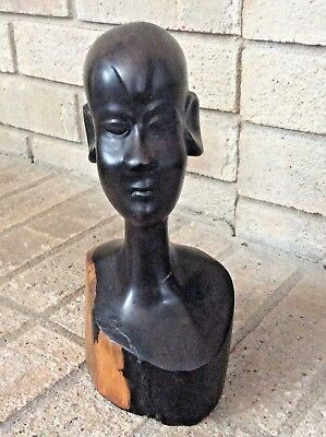 Mahogany Wood Sculpture African Head  Hand Carved Vintage Tribal  Statue