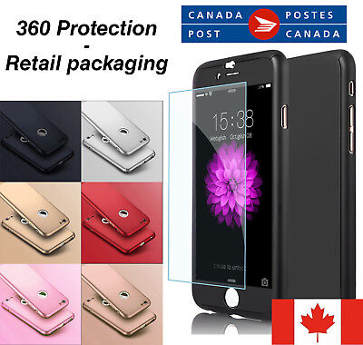 For iPhone 5 6 7 8 X / plus 360° Full Body Thin Hard Case Cover+Tempered Glass