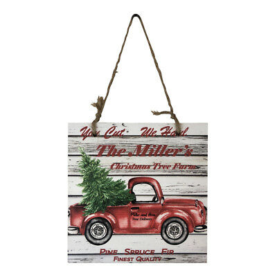 Personalized Red Truck Tree Farm Printed Handmade Wood Christmas Ornament Small