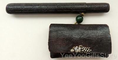 ANTIQUE Meiji Japanese Leather TOBACCO POUCH/Purse with Pipe-Kiseru HOLDER