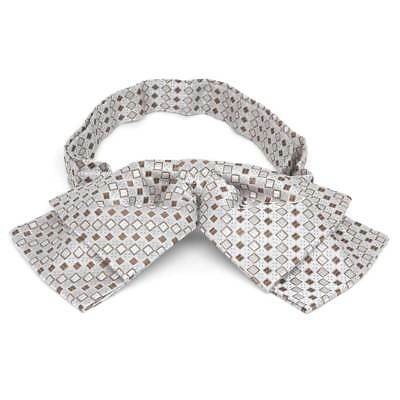 TieMart Oatmeal Brown Marie Square Pattern Floppy Bow Tie