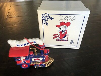 Ole Miss Rebels Colonel 2006 Porcelain Train Christmas Ornament Collectible