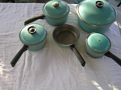 9 Piece TURQUOISE CLUB Aluminum Cookware, Vintage, Mid Cent, SO COOL!