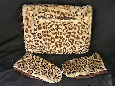 Vintage fur Muff & Mittens, AS IS Condition, Adorable Print!