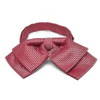 TieMart Red Henry Grain Pattern Floppy Bow Tie