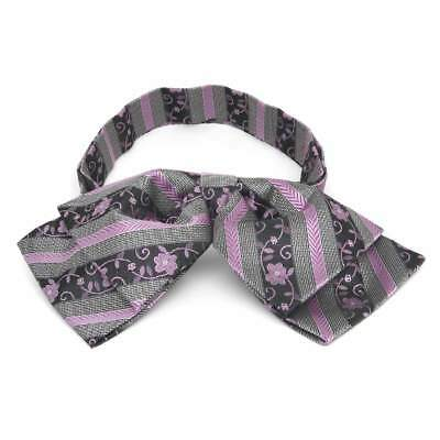 TieMart English Lavender Anna Floral Stripe Floppy Bow Tie