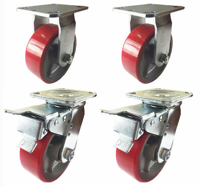 "4 Caster 4"" 5"" 6"" 8"" Polyurethane on Cast Iron Rigid & Total Lock Brake (Red)"