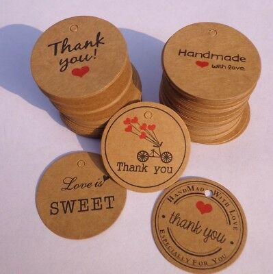 Round Paper Tags HAND MADE WITH LOVE THANK YOU LOVE SWEET Craft Gift Food 3.5cm
