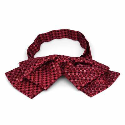 TieMart Crimson Red Marie Square Pattern Floppy Bow Tie