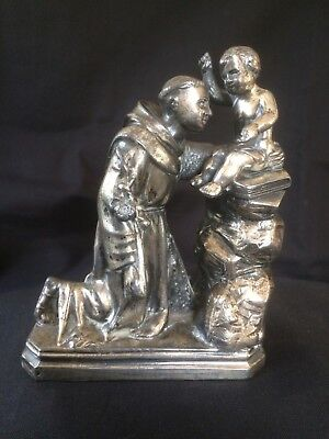 Antique silver christian figurine monck with little boy mid 19th century 490 gr