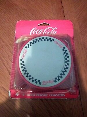 "Coca Cola Brand 4pc Set 4"" Deco Plastic Coaster Set"