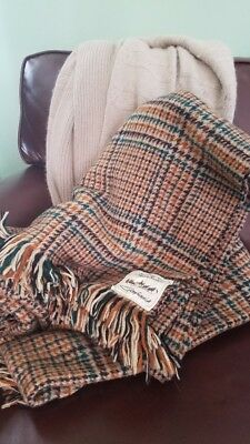 Vintage Glenfiddich Whiskey Plaid Pure Wool Throw from Scotland -FREE Shipping