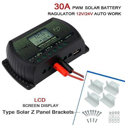 30A 12V/24V Solar Controller Regulator PWM with LCD Display&USB+10x Z Bracket UP