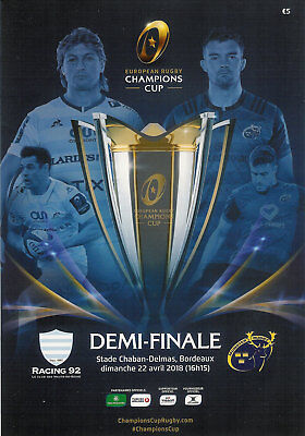 Racing 92 v Munster European Champions Cup semi-final 22 Apr 2018 rugby prog