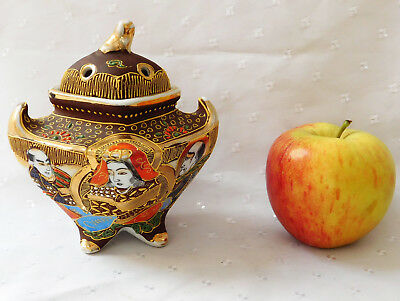 Vintage Satsuma bowl with lid Japanese porcelain Samurai china oriental pot box