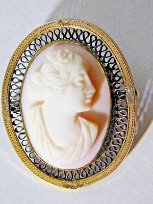 Antique EDWARDIAN SHELL CAMEO BROOCH set in GOLD FILLED SETTING W/ OPENWORK