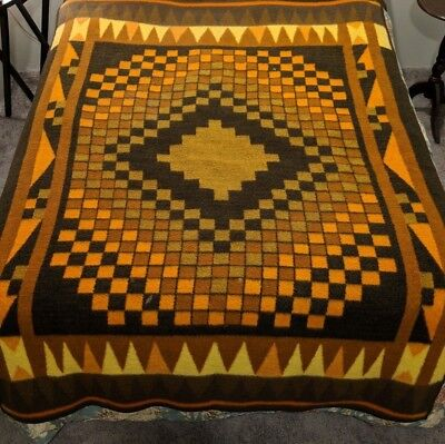 Vtg Biederlack Blanket West Germany Orange Brown Geometric Southwest 70s Flaws
