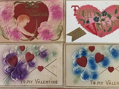 Lot of 5 AIRBRUSHED Heavy Embossed Antique Valentine's Day Postcards-k606