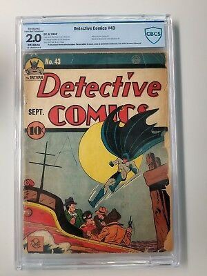 DETECTIVE COMICS #43 Graded - CBCS 2.0 - RESTORED - EARLY BATMAN 1940