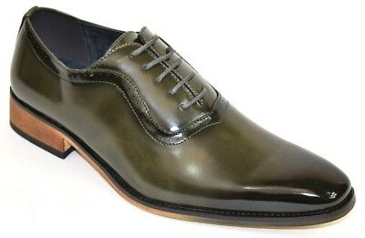Men's Dress Shoes Plain Toe Oxford Burnished Smooth Olive Green Lace Up ALPINE