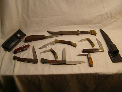 Lot of 10 Junk Knives 2 Fixed Blades 8 Folding Jack Knives & 2 Sheaths