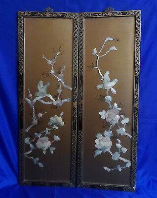 """Vtg Asian Chinese Wall Art Gold Lacquer Mother of Pearl Panels Birds Flowers 36"""""""