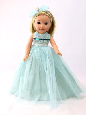 """Blue Gown Dress Headband Fits Wellie Wishers 14.5"""" American Girl Clothes"""