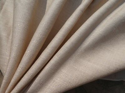 VINTAGE Fabric Light Beige Duppioni Weave Natural Linen Look 2.5 YDS