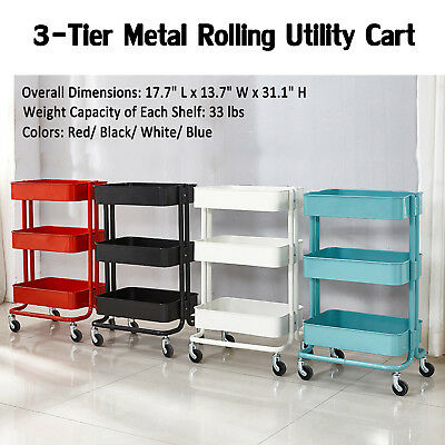 3-Tier Metal Rolling Utility Cart Mobile Storage Organizer Trolley Cart Kitchen