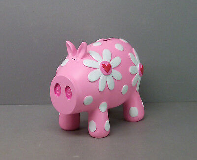 Pink Pig Piggy Bank with Flowers - Home Decor Novelty Bling Item