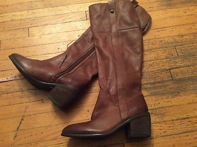 81b3fd179939  198 Vince Camuto Mordona Brown Leather Tall Boots Block Heel Wmn 5.5 M