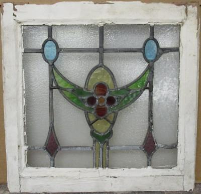 """OLD ENGLISH LEADED STAINED GLASS WINDOW Pretty Floral Swag & Drops 20"""" x 19.5"""""""