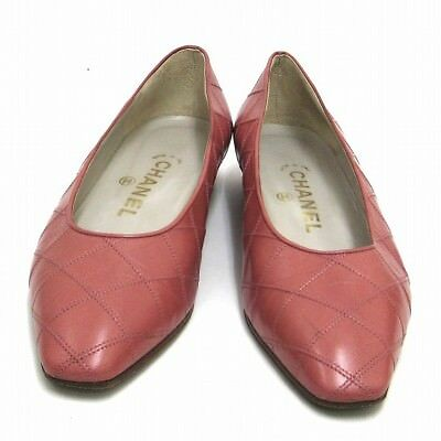 CHANEL pumps 36 pink leather shoes Ladies Free Shipping [used]
